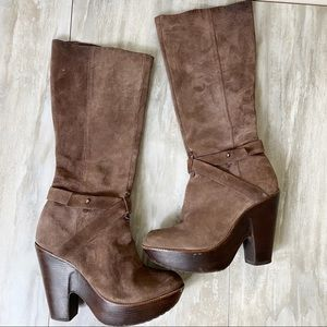 SCHUTZ Suede Leather Knee High Platform Boots